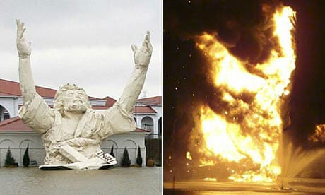 The King of Kings statue at the Solid Rock church in Monroe, Ohio, before and during the fire