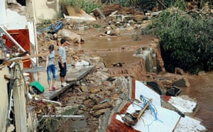 Flooding in France: Les Arcs sur Argens: People look at the flood damage
