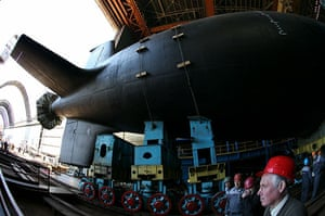 russian super sub: russian president medvedev attends launch of nuclear submarine