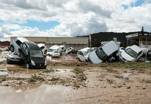 France Floods: Draguignan: Damaged cars in the aftermath of flooding