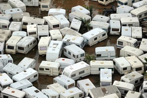 France Floods: Saint-Aygulf: Caravans in the aftermath of flooding