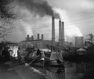 Longden's Canals: Washing hangs by a canal with a power station behind