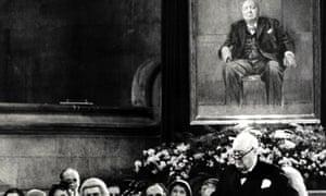 Sir Winston Churchill makes a speech in 1954