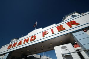 Grand Pier: The sun shines on the on Grand Pier entrance