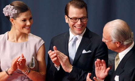 Sweden's Crown Princess Victoria her fiance Daniel and Sweden's King Carl XVI Gustaf