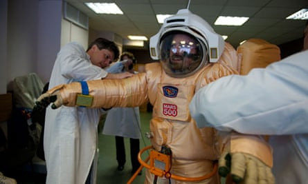 An astronaut trains in a spacesuit for Mars 500.