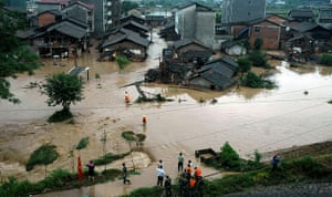 Chian flooding: Flooded roads and houses in Shayuan village, China