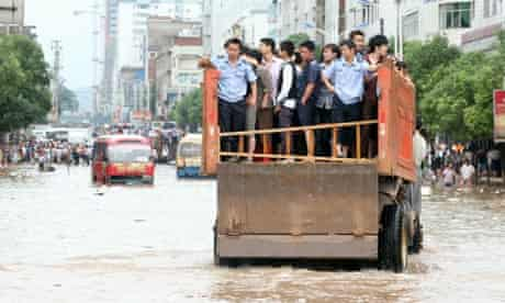 Flood victims are evacuated in Dongxiang, Jiangxi province