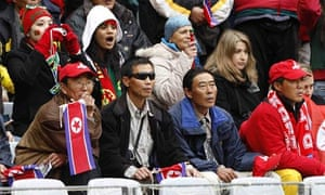 Fans of North Korea and Portugal mix
