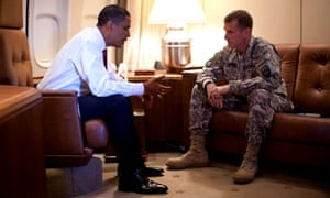 President Barack Obama meeting with General Stanley McChrystal, the top commander in Afghanistan