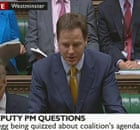 Nick Clegg takes his first deputy prime minister's question time on 22 June 2010.
