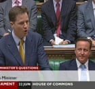 David Cameron listens as Nick Clegg takes deputy prime minister's questions on 22 June 2010.