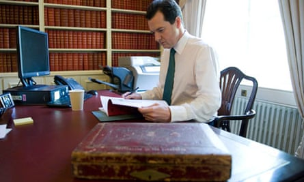 Chancellor of the Exchequer George Osborne preparing for his first Budget