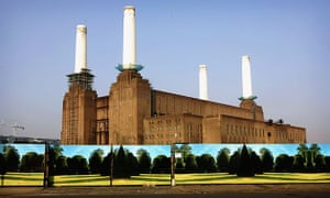 Battersea power station: 2005: Battersea Power Station stands behind hoardings