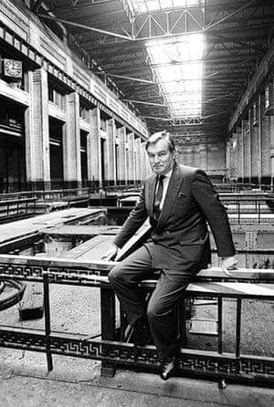 Battersea power station: 1987: John Broome inside the Turbine Hall of Battersea Power Station
