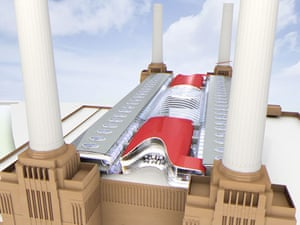Battersea power station: 2004: Architect Ron Arad's scheme for a luxury hotel on top of the station