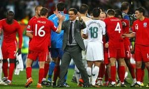 Fabio Capello congratulates England players after beating Slovenia