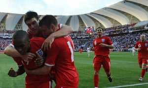 Jermain Defoe celebrates after his goal for England