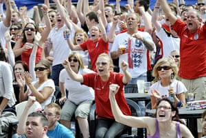 England fans: Newcastle, UK: England supporters watch the game on a giant screen