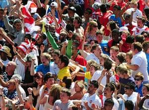 England fans: Leicester, UK: England fans celebrate the goal against Slovenia