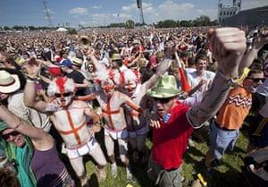England fans: Somerset, UK: England fans at Glastonbury Festival