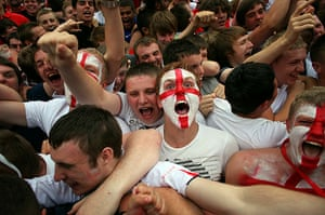 England fans: Manchester, UK: England fans celebrate