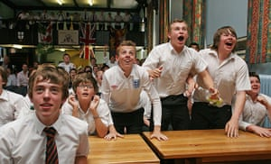England fans: Bristol, UK: Boys at the Queen Elizabeth's Hospital School