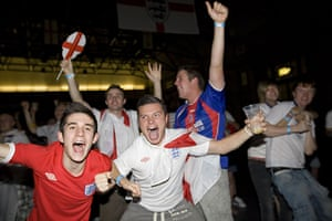 England fans: London, UK: England supporters celebrate victory at Alexandra Palace