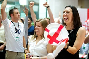 England fans: Manchester, UK: Employees at Kellogs HQ