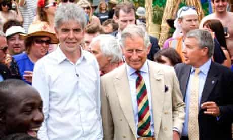 Prince Charles visits Glastonbury with John Sauven, chief executive of Greenpeace
