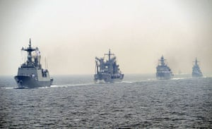 Korean War anniversary: South Korean Navy warships parade off the coast near Busan, South Korea