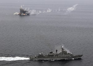 Korean War anniversary: The South Korean navy ship Busan fires to sink an unmanned fishing boat