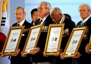 Korean War anniversary: War veterans hold citations from the South Korean President