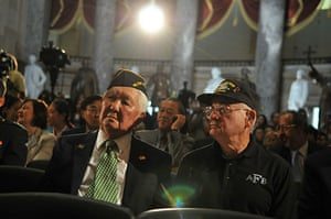 Korean War anniversary: Korean War veterans wait for the start of the Congressional ceremony