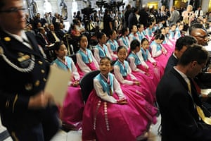 Korean War anniversary: Members of the Little Angels folk ballet from South Korea
