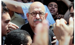 Mohammed ElBaradei , center, at a protest in Alexandria,