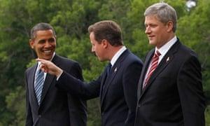 David Cameron with Barack Obama and Stephen Harper