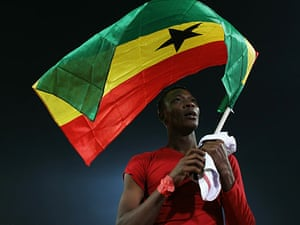 Knockout stages day 1: John Pantsil celebrates Ghana's victory