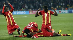 Knockout stages day 1: Ghana players celebrate