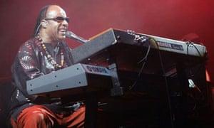 Stevie Wonder performs, during the Glastonbury Festival