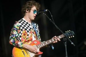 Bands: Andrew VanWyngarden of MGMT performs on The Pyramid Stage