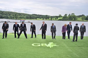 David Cameron at G8: Prime Ministers and heads of state take their positions for a group photo