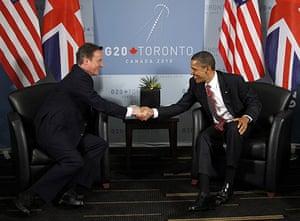 David Cameron at G8: President Barack Obama and Prime Minister David Cameron shake hands