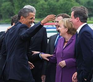 David Cameron at G8: President Barack Obama jokes with Angela Merkel