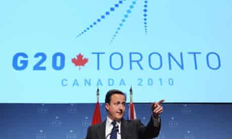 Prime Minister David Cameron holds a news conference on the last day of the G20 Summit in Toronto, Canada.