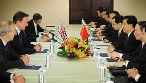 David Cameron at G8: Prime Minister David Cameron meets with Chinese President Hu Jintao