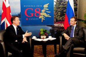 David Cameron at G8: Prime Minister David Cameron holds talks with Dimitri Medvedev