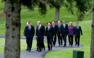 David Cameron at G8: Heads of state and world leaders walk to the G8 Summit family photo
