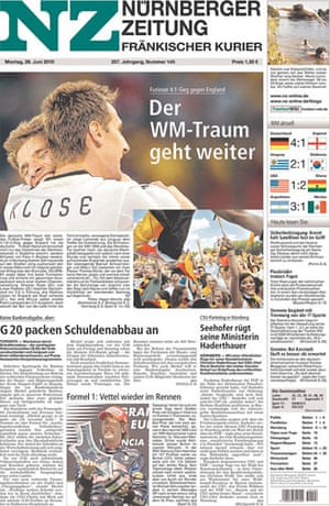 World Cup front pages: Nurnberger zeitung