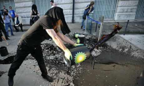 Protester at Tate Britain